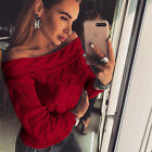 UK Womens off shoulder Sweater Long Sleeve Blouse Knitted Jumpers Pullover Tops