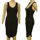 H & M BLACK KNEE LENGTH SLEEVELESS RIBBED DRESS LINED NEW WITH TAGS SIZE XS