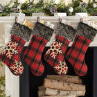 Купить 18'' Christmas Stockings Large Plaid Snowflake Plush Xmas Party Decor Ornaments