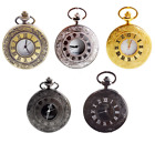 Antique Mechanical Skeleton Steampunk Mens Pocket Watch Open Case Chain image