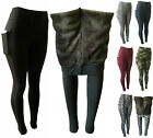 Women Winter Thick Fleece Fur Lined Thermal High Waisted Leggings With 2 Pockets