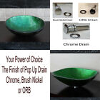 Bathroom Artistic Green Glass Vessel Sink 9049