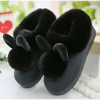 QU Women Bunny Rabbit Plush Winter Warm Home Slippers Slip On Soft Indoor Shoes