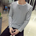Summer Tops T-Shirt Male Round Long Stripe Casual Loose Polyester Hoiliday