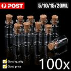100 packs glass bottles with cork stopper tiny vials storage crafts 5 10 15 20ml