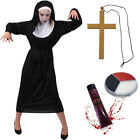 LADIES ZOMBIE NUN COSTUME HALLOWEEN WOMENS OUTFIT UNDEAD SCARY SISTER MARY