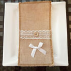 Rustic Jute Lace Burlap Tableware Pouch Christmas Holder Cutlery Bags