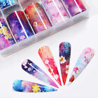 10 Rolls/Box Nail Foil Stickers Flowers butterflies Transfer Decals Paper Nail A