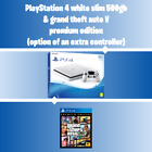 PlayStation 4 PS4 500gb White Console Bundle GTA V Premium Edition