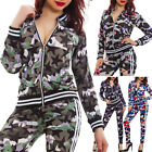 Woman Suit Set Fitness Sport Perforated Camouflage Jacket Zip Trousers K5606