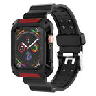 For Apple Watch Series 4/5 Rugged Protective Case w/ Silicone Strap Bands 40 44