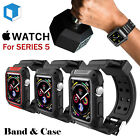 For Apple Watch Series 4/5 Rugged Protective Case w/ Silicone Strap Bands 40 44 image