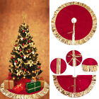 48 Inch Christmas Tree Plaid Skirt Double Layers Holiday Party Xmas Decoration