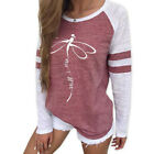 Women Dragonfly Print Casual Color Block Round Neck Long Sleeve Tops Blouse TF1