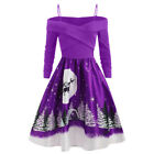 AU Women Fashion Christmas Day Long Sleeve Print Dress Plus Size Party Dress CA
