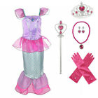 Ariel Costume Child Prestige Storybook Princess Costume Kids Mermaid Dress+set
