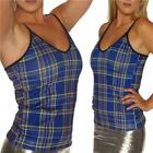 SPAGHETTI STRAPS VEST TOP BLUE  TARTAN GOTH PUNK ALTERNATIVE