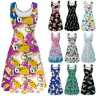 Womens Sleeveless Summer Party Swing Rockabilly Dress Ladies Scoop Neck Dresses