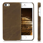 Genuine Leather Hard Case Back Cover for Apple iPhone SE 5 5S