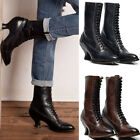 Women Mid-Calf Leather Boots Rustic Booties Steampunk Lace Up High Heel Boots