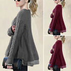 Women's Patchwork O-neck Tunic Tops Lady Winter Knitted Jumper Pullover Sweater