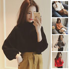 Womens Tops Shirt Blouse Sweater Pullover Long Lantern Sleeves Turtle Neck Hot