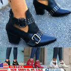 US Women Buckle Ankle Boots Casual Chunky Mid Block Heel Booties Shoes Steampunk