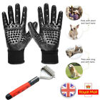 UK Pet Dog Cat Dematting Grooming Deshedding Trimmer Tool Hair Fur Comb Gloves