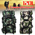 120L Large Outdoor Camo Backpack Milatary Tactical Bag Hiking Trekking Rucksack