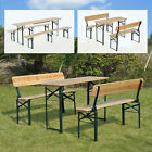 3PC Folding Beer Table Bench Set Outdoor Garden Wooden Top Picnic Table Patio
