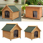 UK DOG KENNEL WOODEN PET HOUSE APEX / FLAT ROOF ANIMAL OUTDOOR SHELTER WOOD HOME