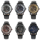 US Men's Faux Leather Skeleton Hand-Wind Mechanical Sports Army Wrist Watch image