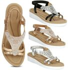 WOMENS LADIES SUMMER COMFY LOW FLAT DIAMANTE SUMMER BEACH SANDALS SHOES SIZE 3-8