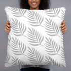 Grey and White Leaf Decorative Throw Pillow