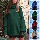 Women's Chunky Knitted Sweater Winter Casual Turtle Roll High Neck Jumper Tops