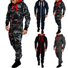 Mens Long Sleeve Zip Up Coverall One Piece Romper Jumpsuit Hooded Tracksuit
