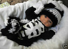 """CROCHET BABY BLACK AND WHITE LONG TAIL ELF HAT ~ 14"""" LONGTAIL ELF HAT"""