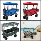 Pull Push Collapsible Folding Wagon Beach Cart Outdoor Garden Camping Canopy