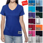 Hanes Ladies V-Neck T-Shirt 100 Cotton Nano Tee Top XS-2XL Womens Tee NEW