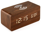 Oct17 Wooden Alarm Clock with Qi Wireless Charging Pad Compatible iPhone