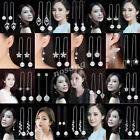 925 Sterling Silver Women Threader Chain Tassel Hook Drop Dangle Earrings Gift