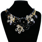Women Crystal Flower Statement Bib Chunky Necklace Chic Chain Collar Jewelry New