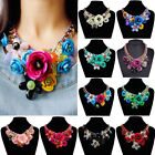 Women Crystal Flower Statement Bib Chunky Necklace Chic Chain Collar Jewelry New image