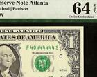 2006 $1 DOLLAR BILL NEAR SOLID 40444444 SERIAL NUMBER NOTE PAPER MONEY PMG 64EPQ