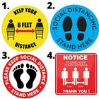 """10"""" x 10"""" Social Distancing Floor Decal Sticker Checkout Lines Please Wait Here"""
