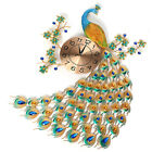 Large 3D Diamond Peacock Wall Clock Metal Watch Home Living For Room Decora-US