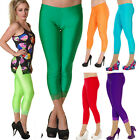 NEON PLAIN CROPPED LACE HEM LEGGINGS  80' FANCY DRESS TUTU GOTH ALTERNATIVE