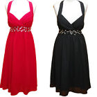 CHIFFON HALTER NECK EVENING BRIDESMAID DRESS PROM WEDDING PARTY  COCKTAIL