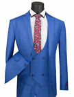 Men's Suit Single Breasted 2 Buttons 3 Piece SLIM FIT Glen Plaid Blue SV2W-5