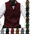 Mens Tweed Waistcoat Notch Lapel Vintage Vest Herringbone Wool Business Slim 3XL